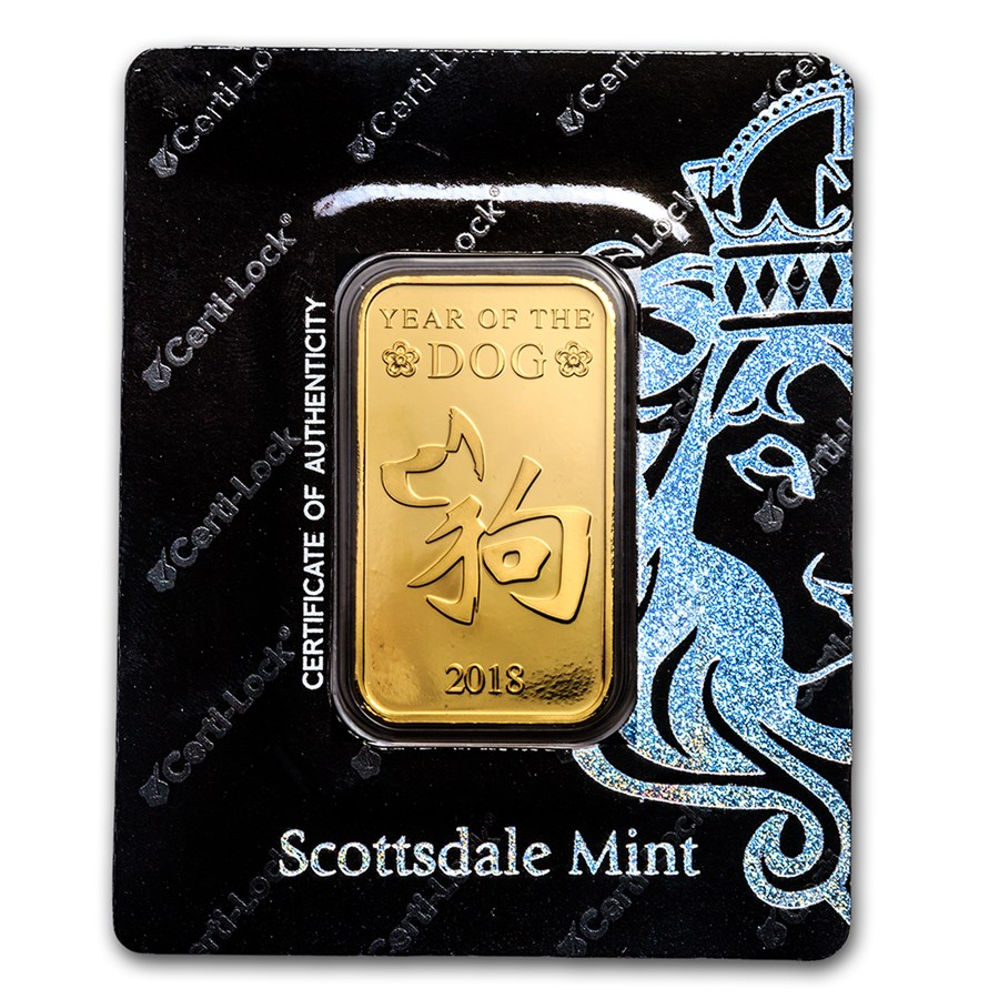 1 oz Gold Bar - Scottsdale Year of the Dog Certi-Lock®(In Assay)