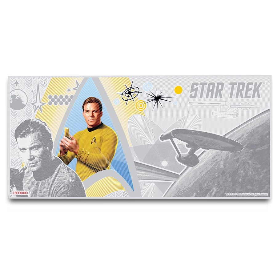 2018 Niue 5 gram Silver $1 Note Star Trek Captain Kirk w/Album