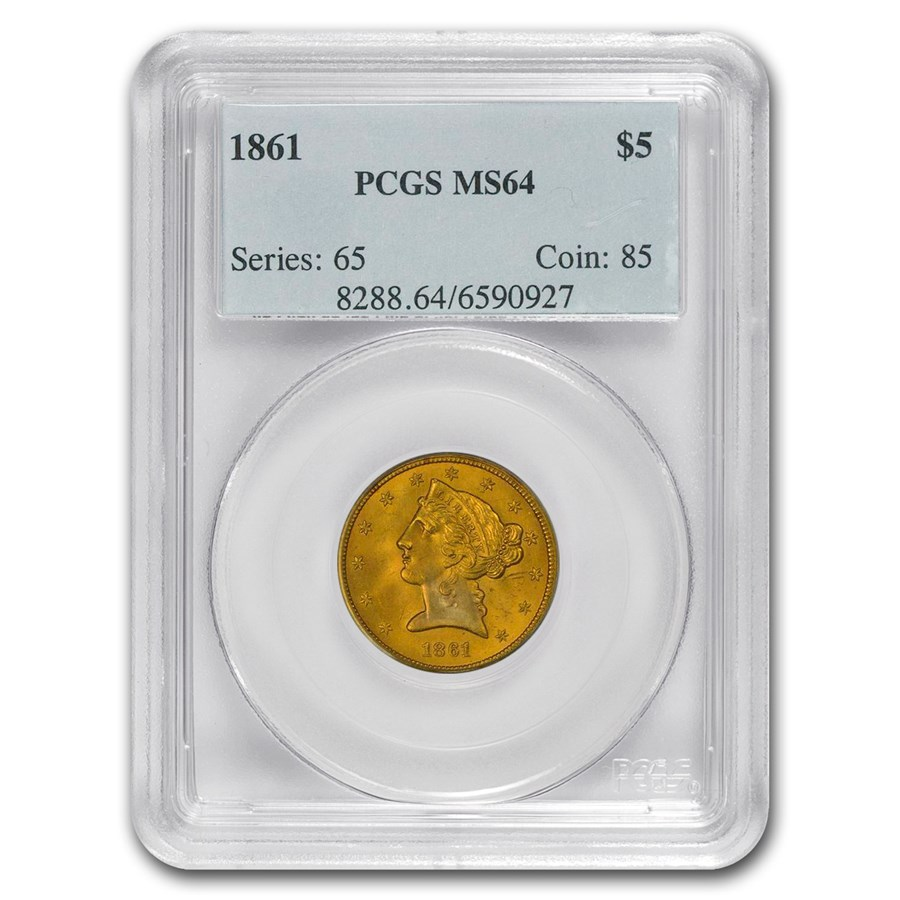 1861 $5 Liberty Gold Half Eagle MS-64 PCGS