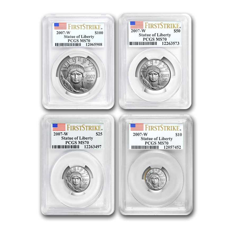 2007-W 4-Coin Burnished Platinum Eagle Set MS-70 PCGS (FS)