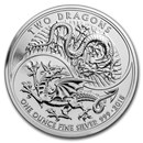 2018 Great Britain 1 oz Silver Two Dragons BU
