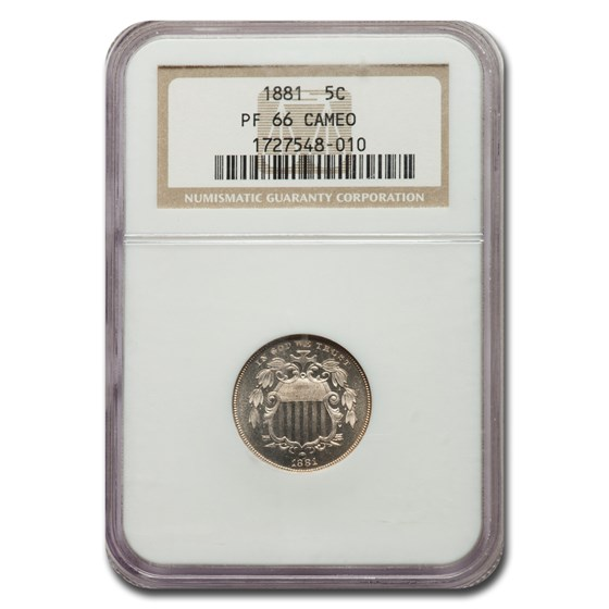 1881 Shield Nickel PF-66 Cameo NGC