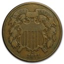 1871 Two Cent Piece Fine