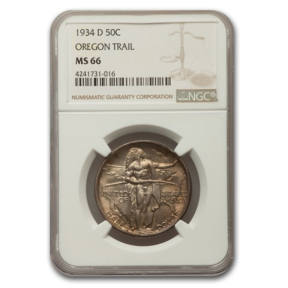 1934-D Oregon Trail Commemorative Half Dollar MS-66 NGC