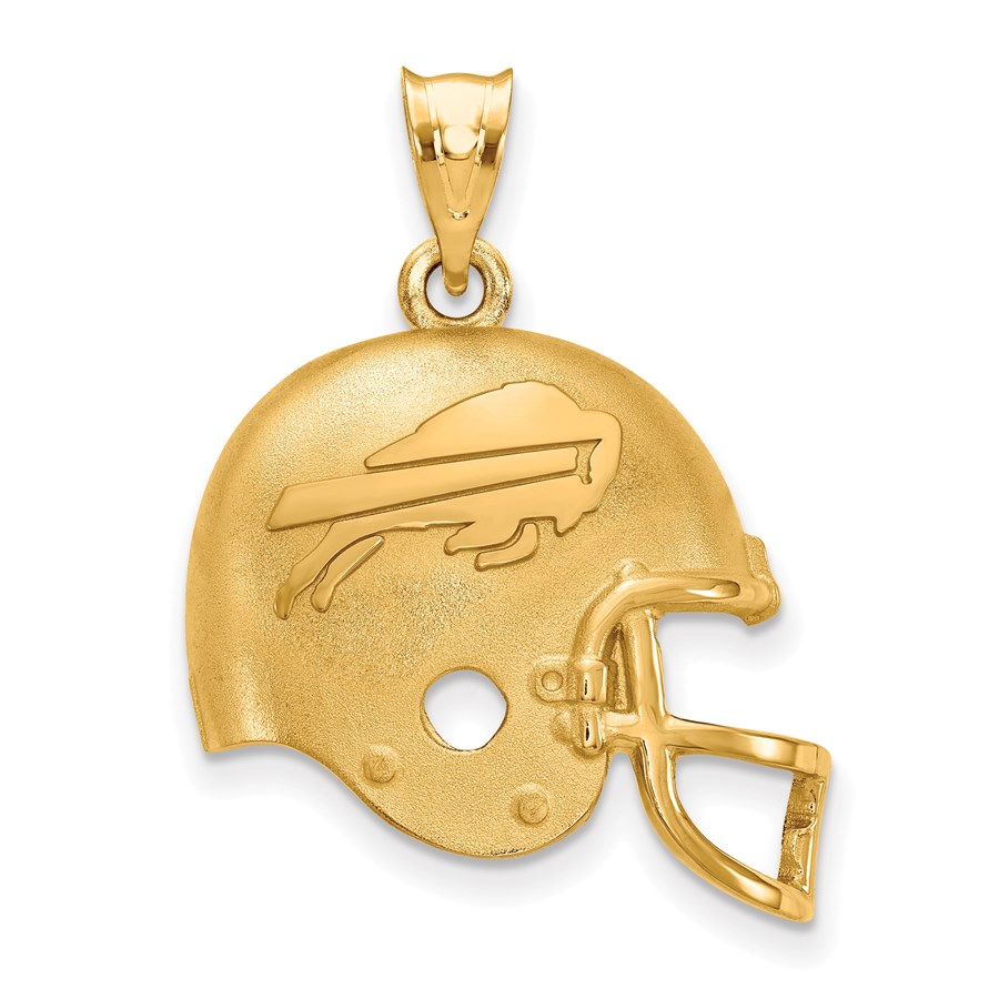 Sterling Silver Gold-plated Buffalo Bills Football Helmet Pendant