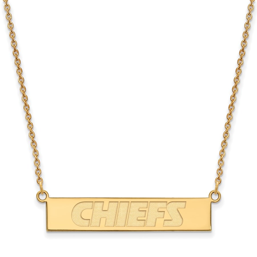 Gold-Plated Sterling Silver Kansas City Chiefs Small Bar Necklace