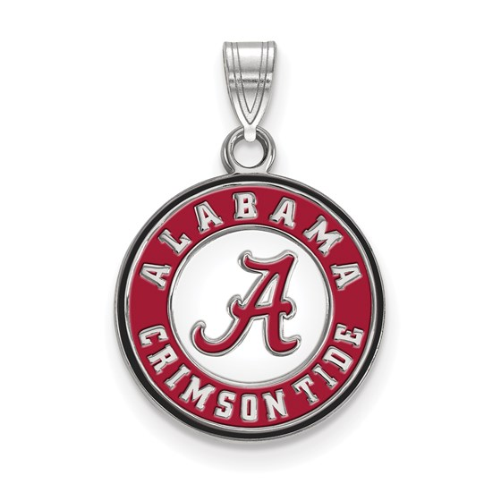 Sterling Silver University of Alabama Medium Enamel Disc Pendant
