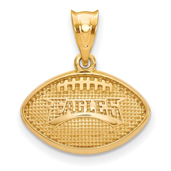 Sterling Silver Gold-plated Philadelphia Eagles Football Pendant