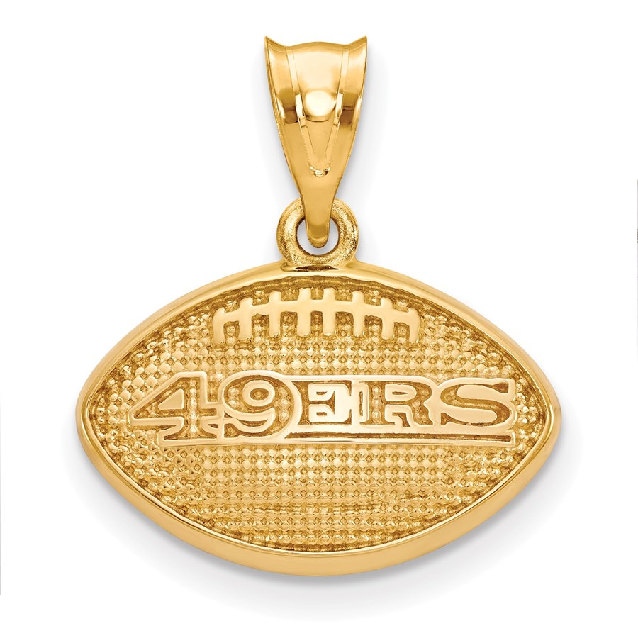 Sterling Silver Gold-plated San Francisco 49ers Football Pendant