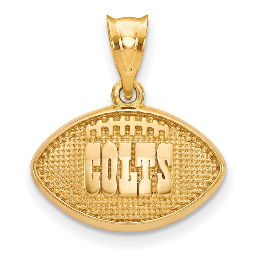 Sterling Silver Gold-plated Indianapolis Colts Football Pendant