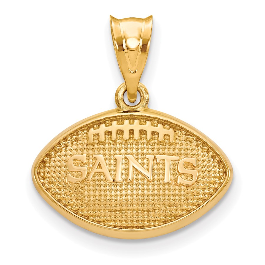 Sterling Silver Gold-plated New Orleans Saints Football Pendant