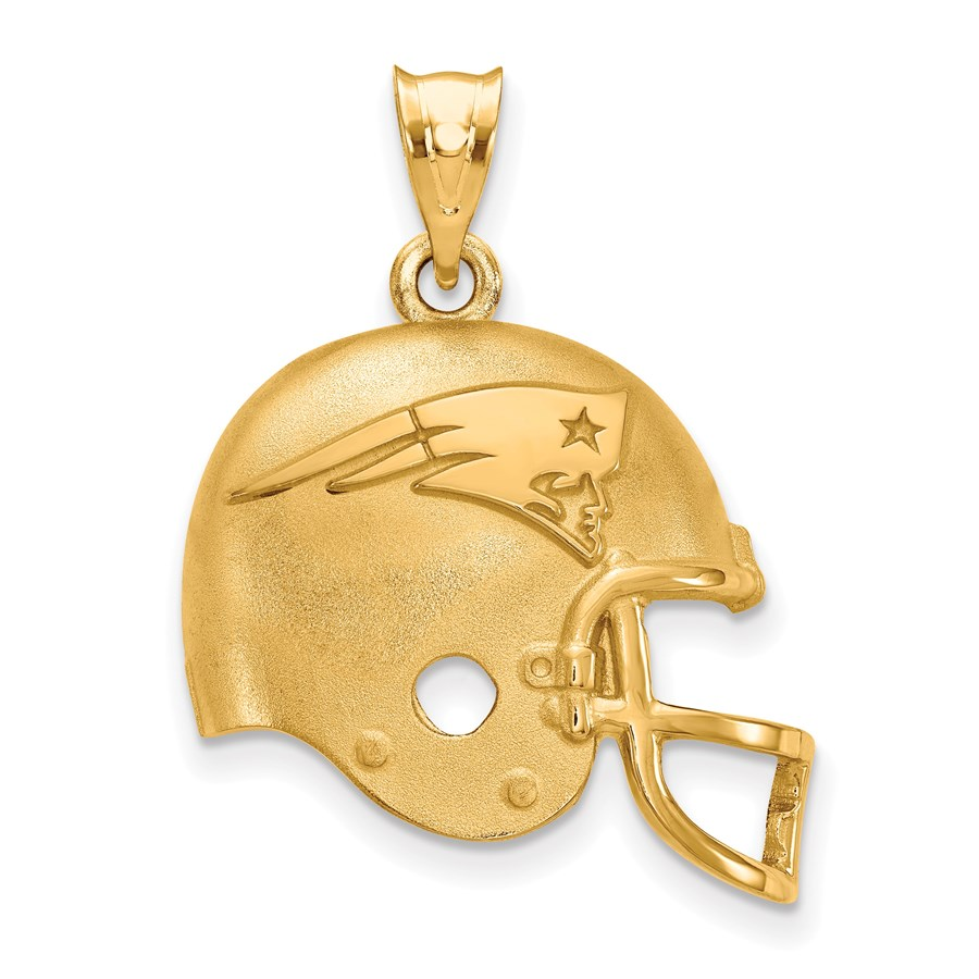 Sterling Silver Gold-plated New England Patriots Helmet Pendant