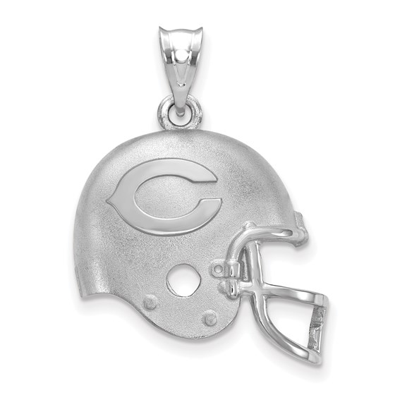 Sterling Silver Chicago Bears Football Helmet with Logo Pendant