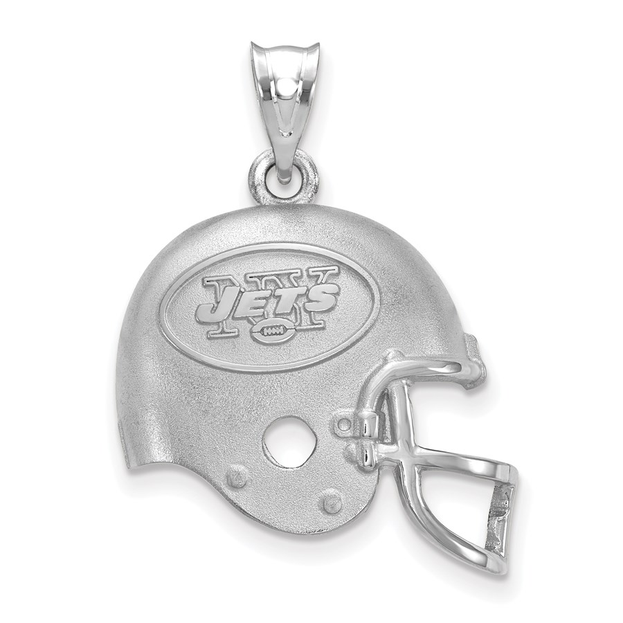 Sterling Silver New York Jets Football Helmet with Logo Pendant