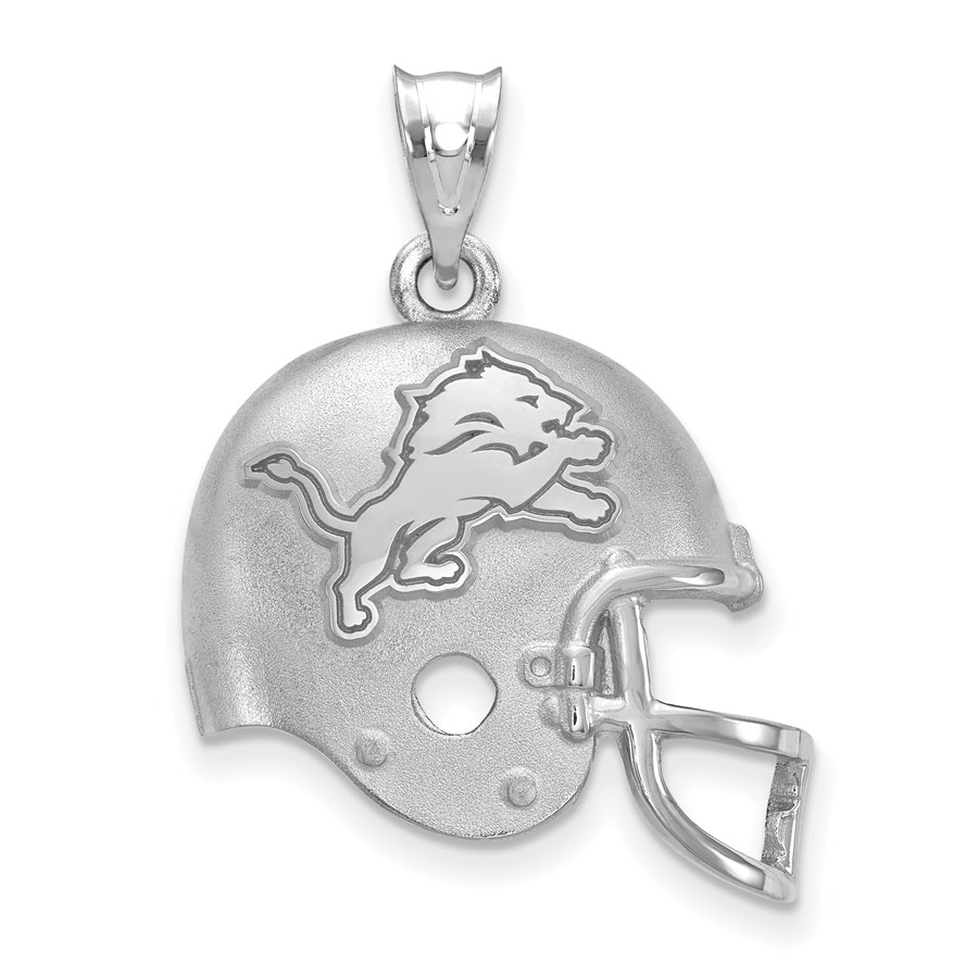 Sterling Silver Detroit Lions Football Helmet with Logo Pendant