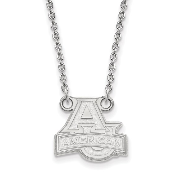 Sterling Silver American Univ. Small Pendant Necklace - 18 in.