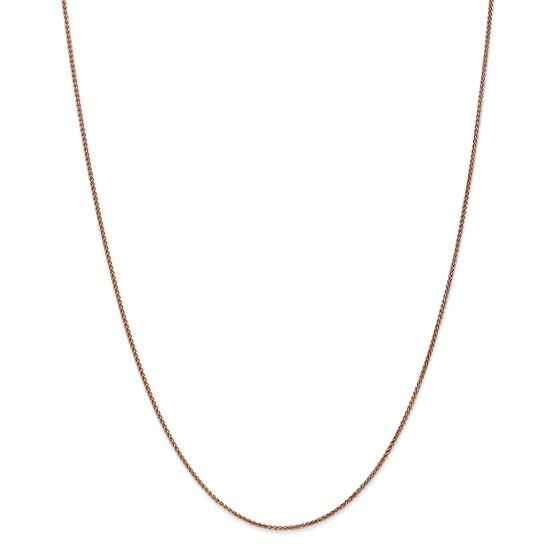 14k Rose Gold 1.2 mm Diamond-cut Spiga Chain Necklace - 18 in.