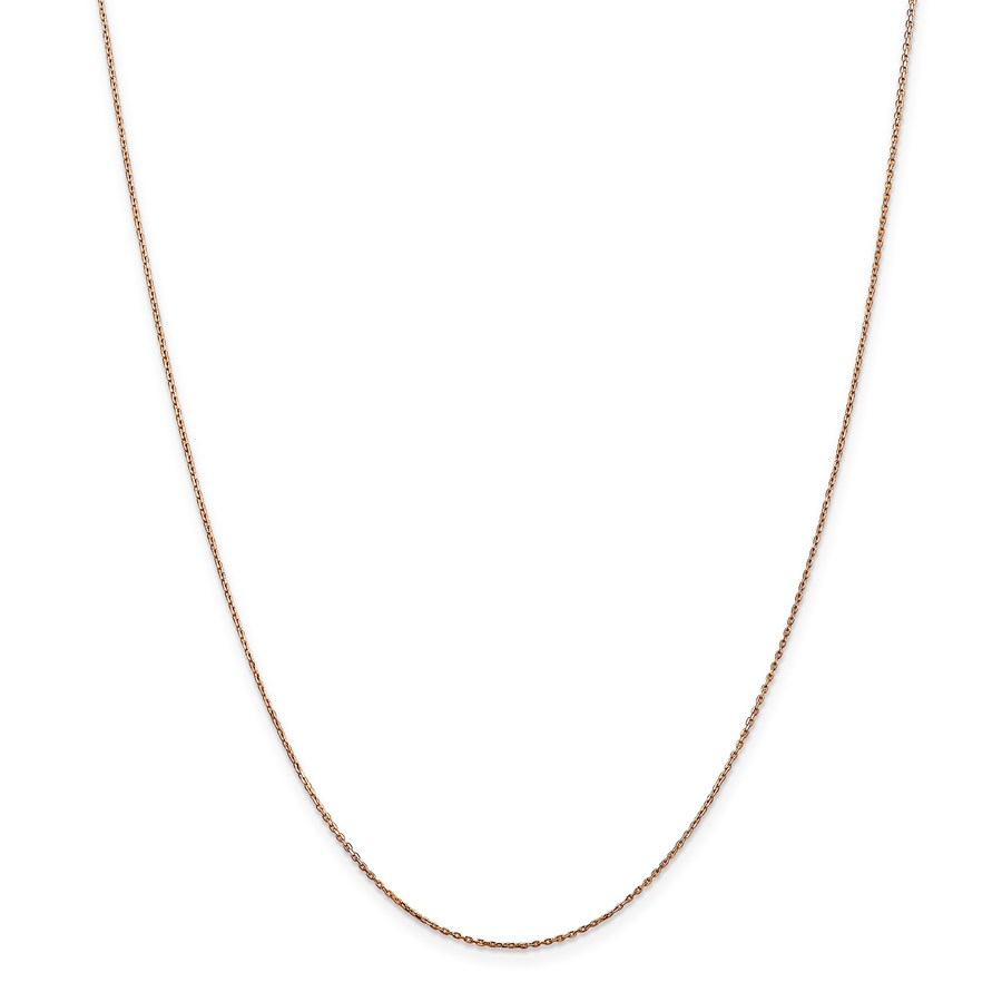 14k Rose Gold .8 mm Diamond-cut Cable Chain Necklace - 20 in.