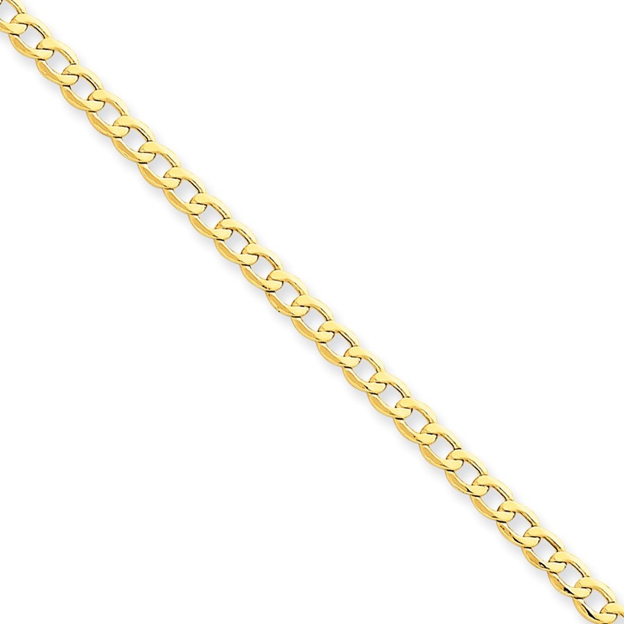14k Gold 3.35 mm Semi-Solid Curb Link Chain Bracelet - 7 in.
