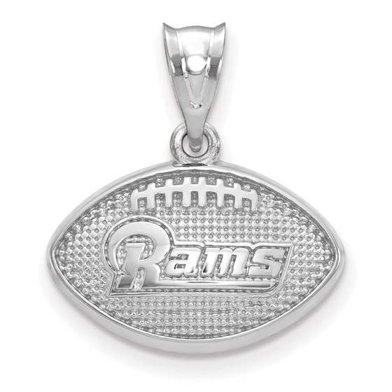 Sterling Silver Los Angeles Rams Football with Logo Pendant