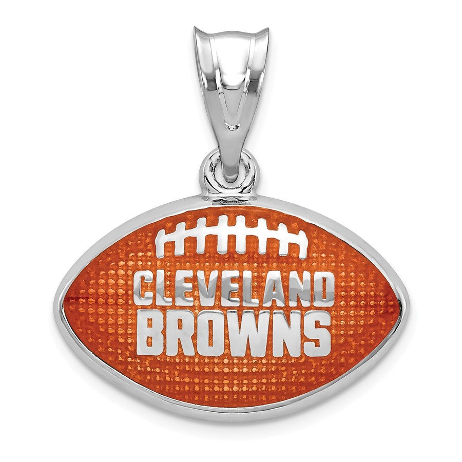 Sterling Silver Cleveland Browns Enameled Football Pendant