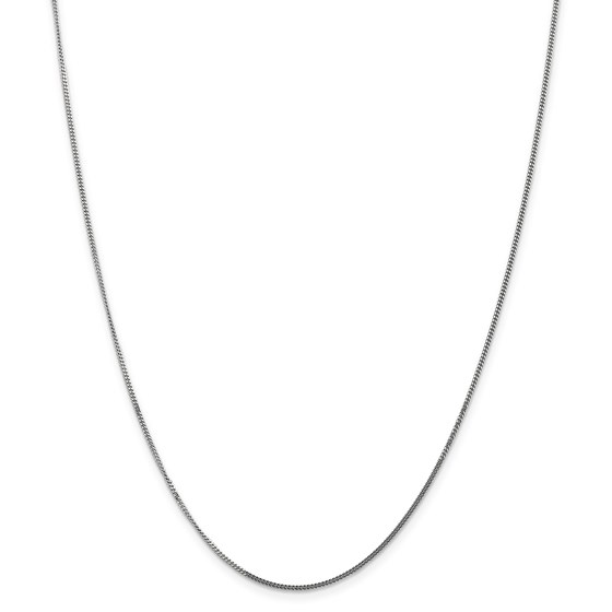 14k White Gold 1.3 mm Curb Pendant Chain Necklace - 20 in.
