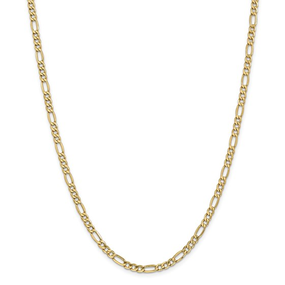 14k Gold 4.40 mm Semi-Solid Figaro Chain Necklace - 24 in.