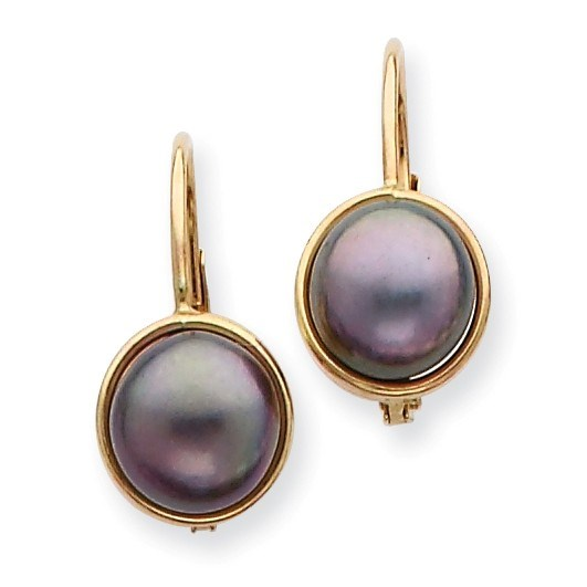 14k 6-7 mm Black Cultured Button Pearl Leverback Earrings