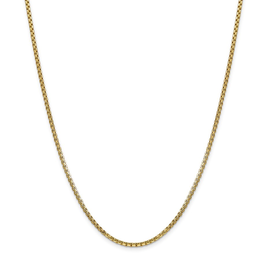 14k Gold 2.45 mm Hollow Round Box Chain Necklace - 24 in.
