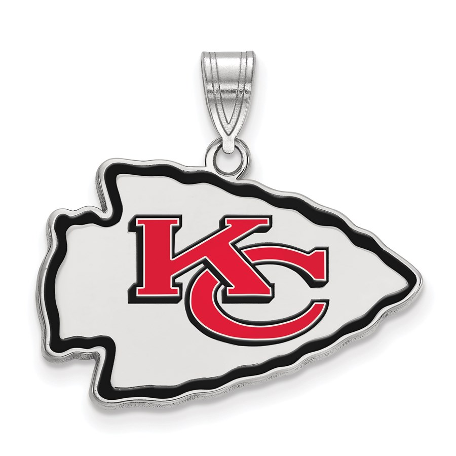 Sterling Silver Kansas City Chiefs Large Enamel Pendant