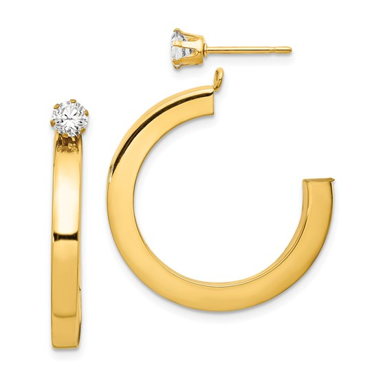 14k Polished J Hoop with Zirconia Stud Earring Jackets
