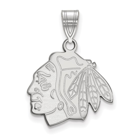 Sterling Silver NHL Chicago Blackhawks Medium Pendant