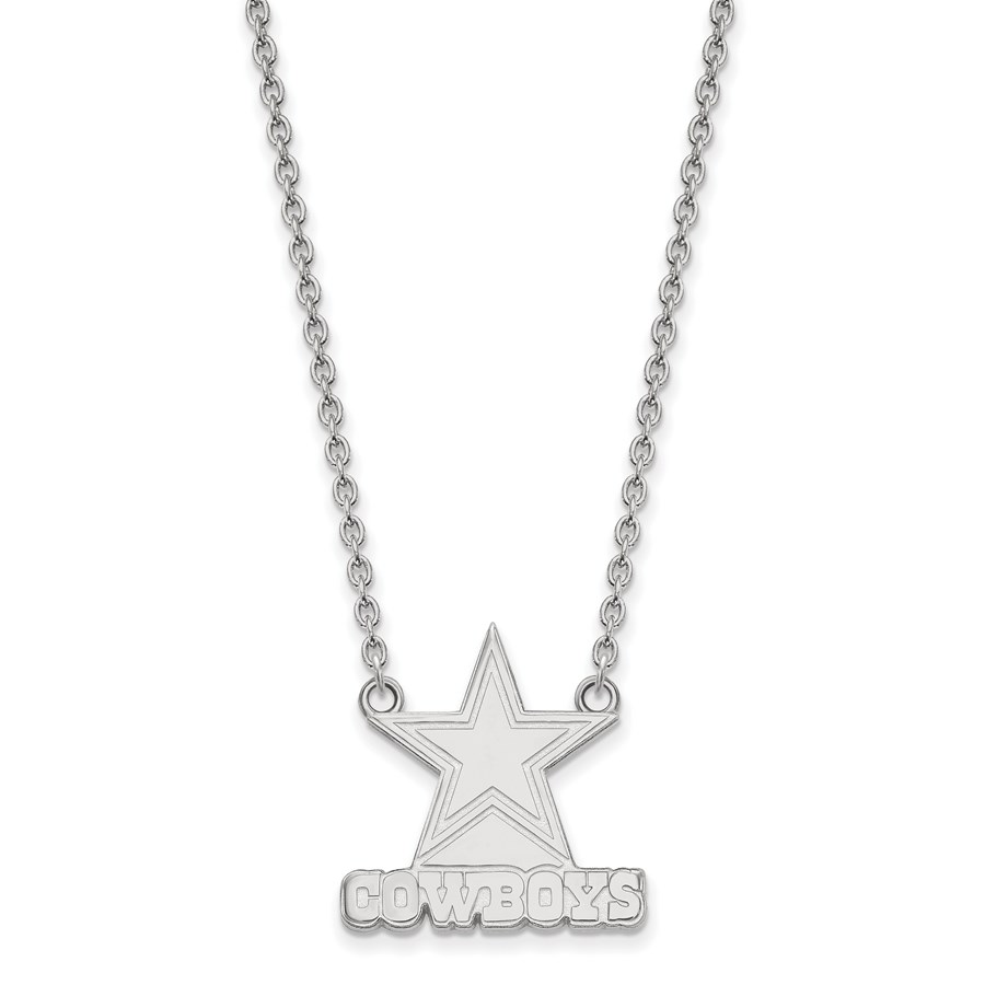 Sterling Silver Dallas Cowboys Large Pendant Necklace