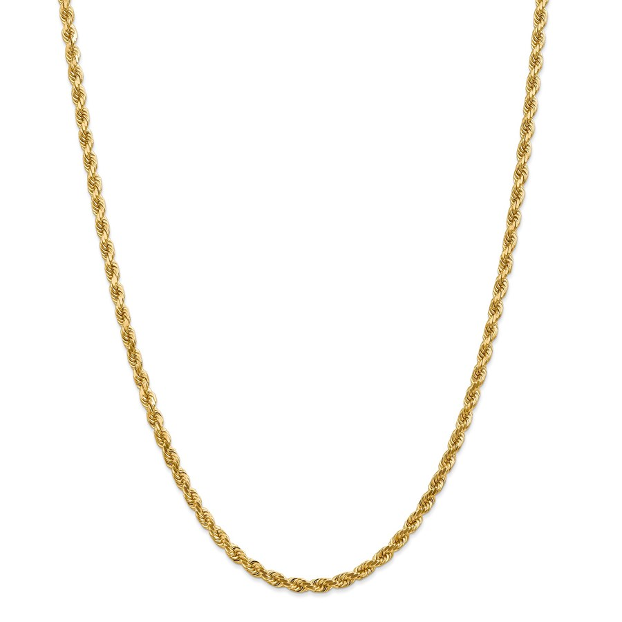 14k Gold 4 mm Diamond-cut Rope Chain Necklace - 24 in.