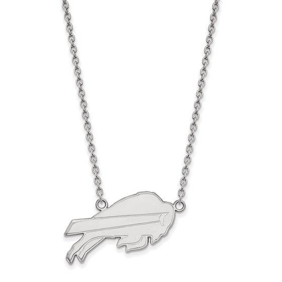 Sterling Silver Buffalo Bills Large Pendant Necklace