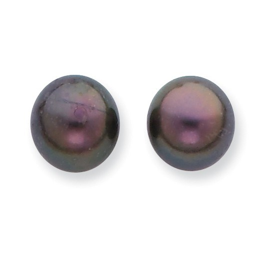 14k 8-9 mm Round Black Saltwater Pearl Stud Earrings
