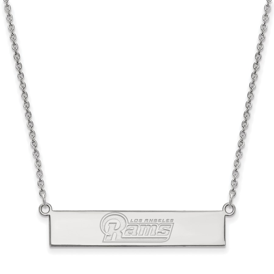 Sterling Silver Los Angeles Rams Small Bar Necklace
