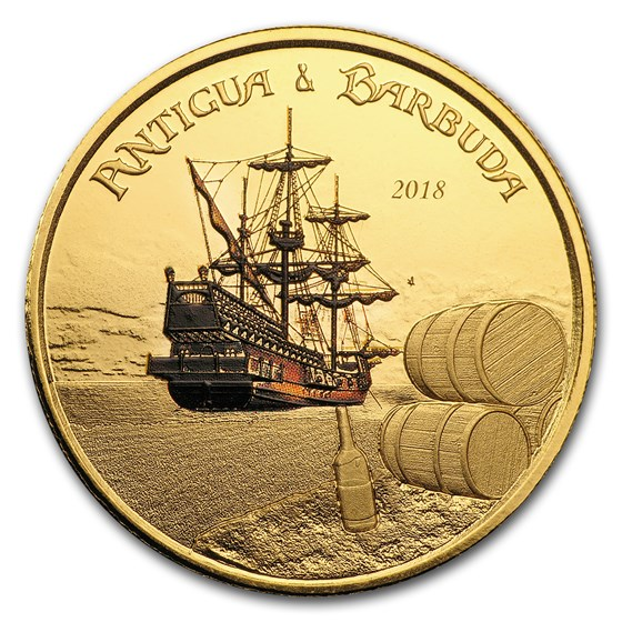2018 Antigua & Barbuda 1 oz Gold Rum Runner (Colorized)