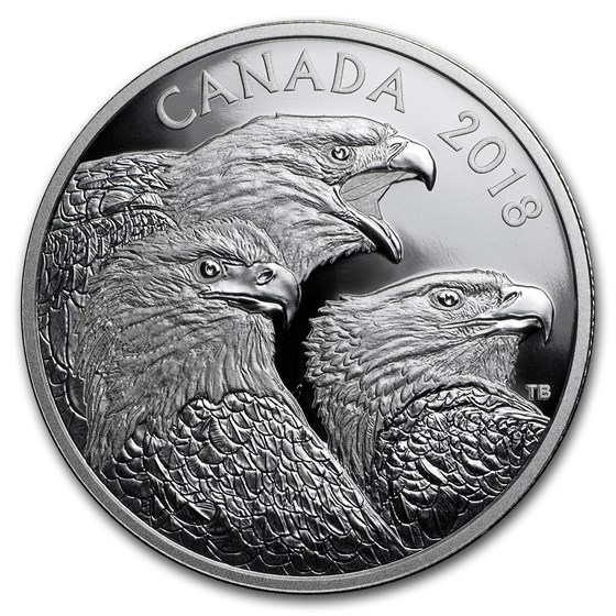 2018 Canada 1 oz Silver $15 Magnificent Bald Eagles