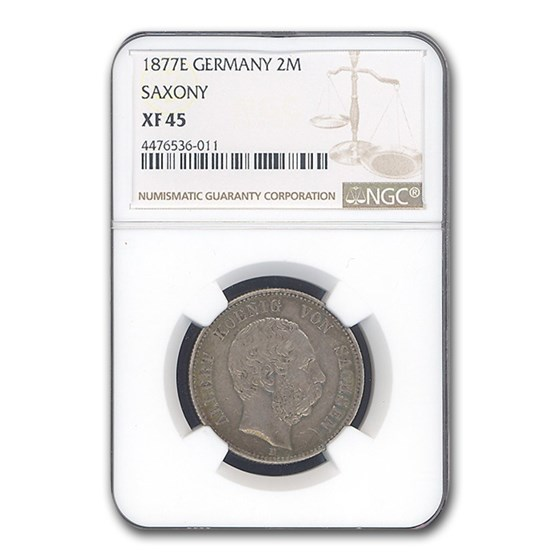 1877-E Germany 2 Mark Saxony Albert XF-45 NGC