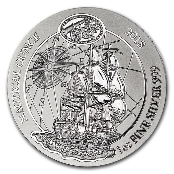 2018 Rwanda 1 oz Silver Nautical Ounce Endeavour BU