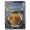 1923-D $20 Saint-Gaudens Gold Double Eagle MS-66+ PCGS