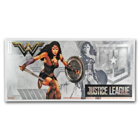 2018 Niue 5 gram Silver $1 Note Justice League Wonder Woman