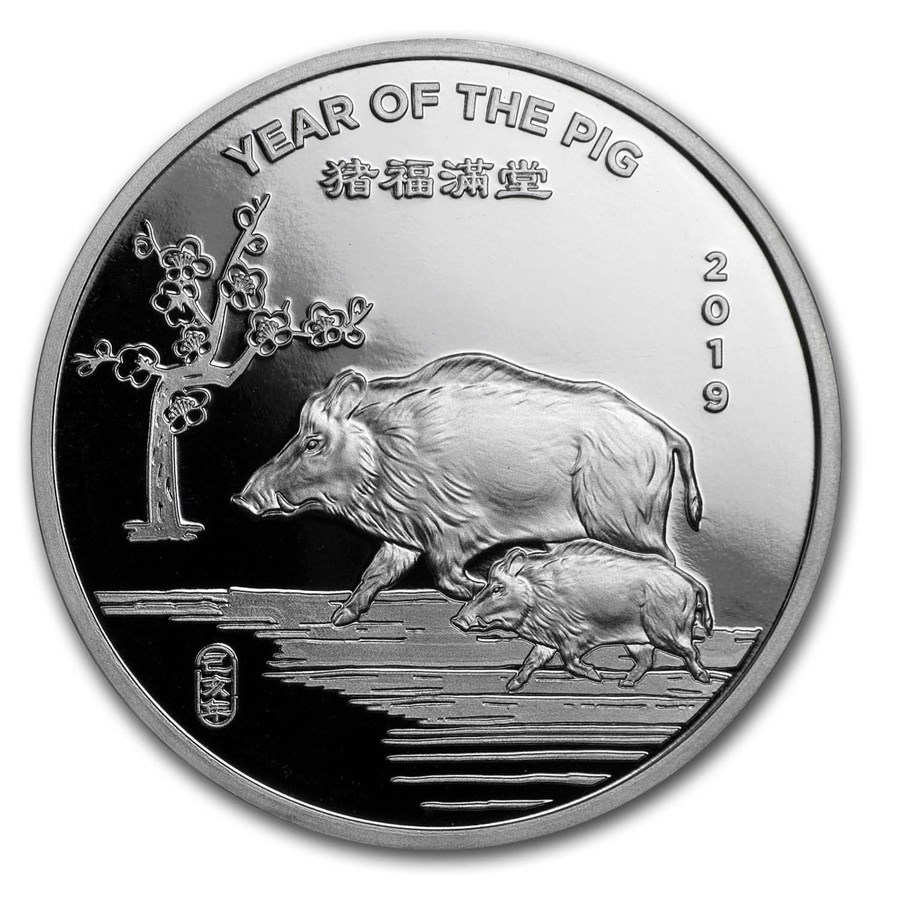 1 oz Silver Round - APMEX (2019 Year of the Pig)