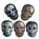 2 oz Hand Poured Silver Skull - Day of the Dead: Spiderweb