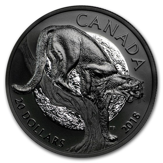 2018 Canada 1 oz Silver $20 Nocturnal By Nature: Cunning Cougar