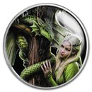 1 oz Silver Colorized Round - Anne Stokes Dragon: Kindred Spirits
