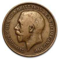 1911-1936 Great Britain George V Large Penny Avg Circ (Random)
