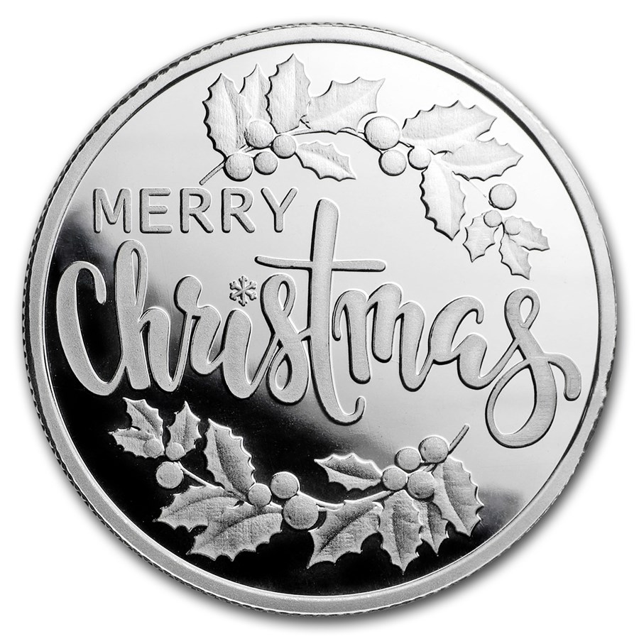 1/2 oz Silver Magnet Round - Merry Christmas (w/Keepsake Card)