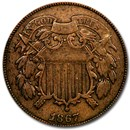 1867 Two Cent Piece Fine
